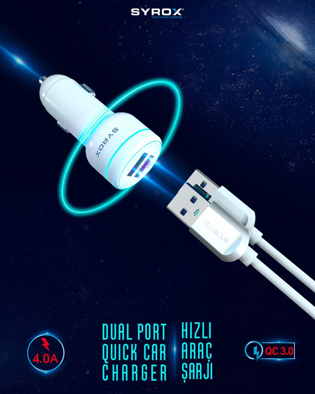 Syrox Hızlı Araç Şarj Aleti + Micro USB Kablo Set 4A QC3.0 SYX-CR12
