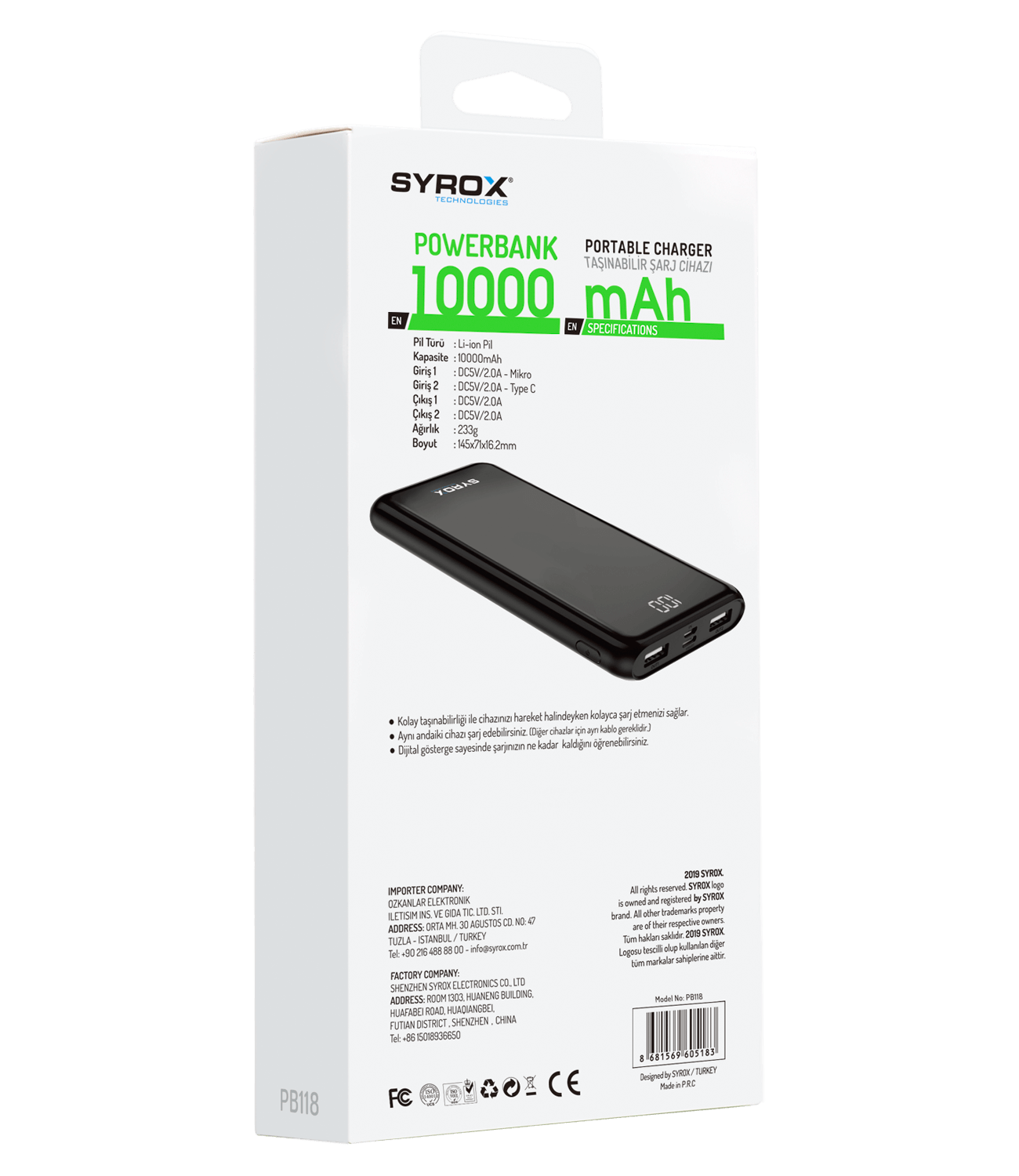 Syrox Pb118 10000 Mah Led Ekranlı Powerbank